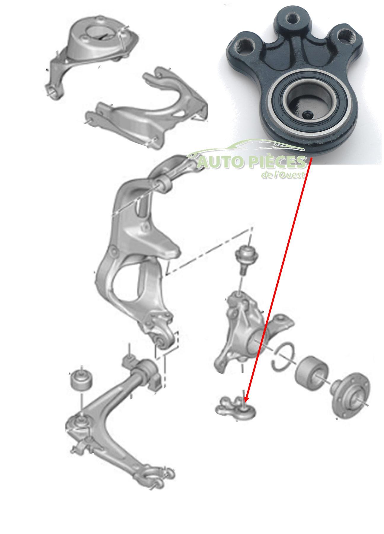 rotule de suspension inf rieure pivot citro n c6 364059 364072 auto pi ces de l 39 ouest. Black Bedroom Furniture Sets. Home Design Ideas