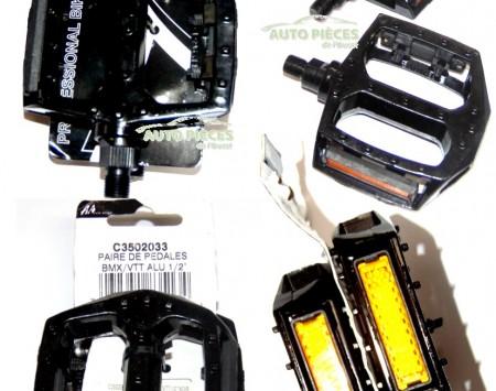 """PEDALE PAIRE DE PEDALES ALU NOIRE VTT BMX 1/2"""" C3502033 3023651835134"""